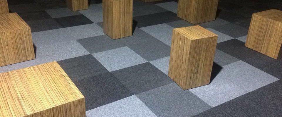 modern look of light grey and dark gray carpets tiles for office in Dubai